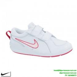 Zapatilla nike PICO 4 niña blanca rosa clasica uniforme deporte infantil junior colegio escolar 454477-103