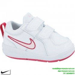 Zapatilla nike PICO 4 niña blanca rosa clasica uniforme deporte infantil junior colegio escolar 454478-103
