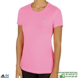 Adidas Camiseta PRIME TEE mujer ROSA manga corta deporte gimnasio ALGODON M66106