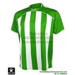 KELME CAMISETA LIGA RAYAS color VERDE BLANCO Futbol Manga Corta talla equipacion hombre niño 78326-218