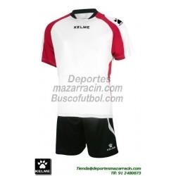KELME CONJUNTO SABA SET color BLANCO ROJO Futbol camiseta pantalon talla equipacion hombre niño 78412-140
