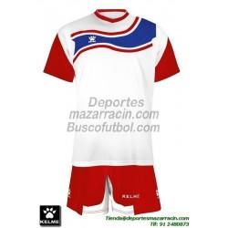 KELME CONJUNTO SURINAME SET color BLANCO ROJO Futbol camiseta pantalon talla equipacion hombre niño 78417-140