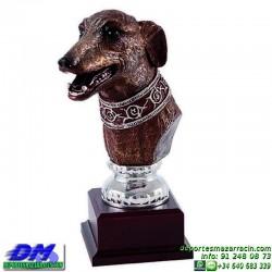 Trofeo de Caza 5554 cazador forma cabeza perro premio diferentes alturas pallart tamaños chapa grabada