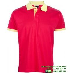 Polo Economico JOYLU ALMERIA 108 ALGODON colores combinados deporte MANGA CORTA entrenamiento grupo peña equipo futbol