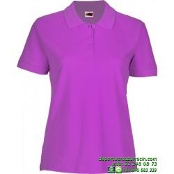 Polo Mujer Economico JOYLU 041 MOTRIL ALGODON PIKE colores femenino botones MANGA CORTA entrenamiento grupo peña equipo