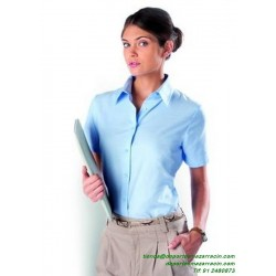 Camisa Mujer Económica KARIBAN OXFORD Manga corta K536 laboral botones woman