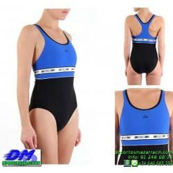 Bañador Natacion Mujer Squba 4015 DUQUE AZUL-NEGRO piscina cubierta lycra chica softee deportivo talla color anticloro