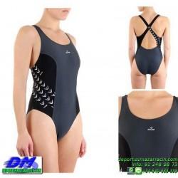 Bañador Natacion Mujer Squba 4010 SQUALO GRIS-NEGRO piscina cubierta lycra chica softee deportivo talla color anticloro