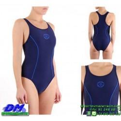 Bañador Natacion Mujer Squba 4009 COSMO AZUL MARINO piscina cubierta lycra chica softee deportivo talla color anticloro