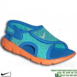 Nike SUNRAY 4 TD azul Sandalia niño velcro 386519-409 ajustable infantil piscina playa