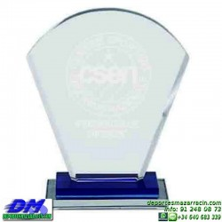 Trofeo Cristal Especial Grabación 5101 laser texto logotipo diferentes alturas premio deporte pallart metacrilato