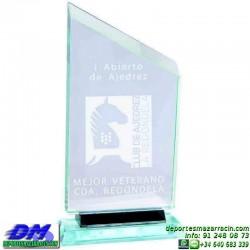Trofeo Cristal Especial Grabación 5112 laser texto logotipo escudo diferentes alturas premio deporte pallart metacrilato