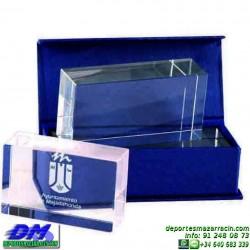 Trofeo Cristal Especial Grabación 5132 laser texto logotipo escudo diferentes alturas premio deporte pallart metacrilato