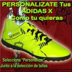 ADIDAS X PERSONALIZADAS botas futbol grabar nombre numero bandera escudo