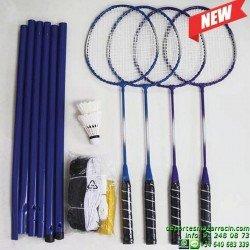 SET Badminton 4 RAQUETAS VOLANTES POSTES RED softee 0006160