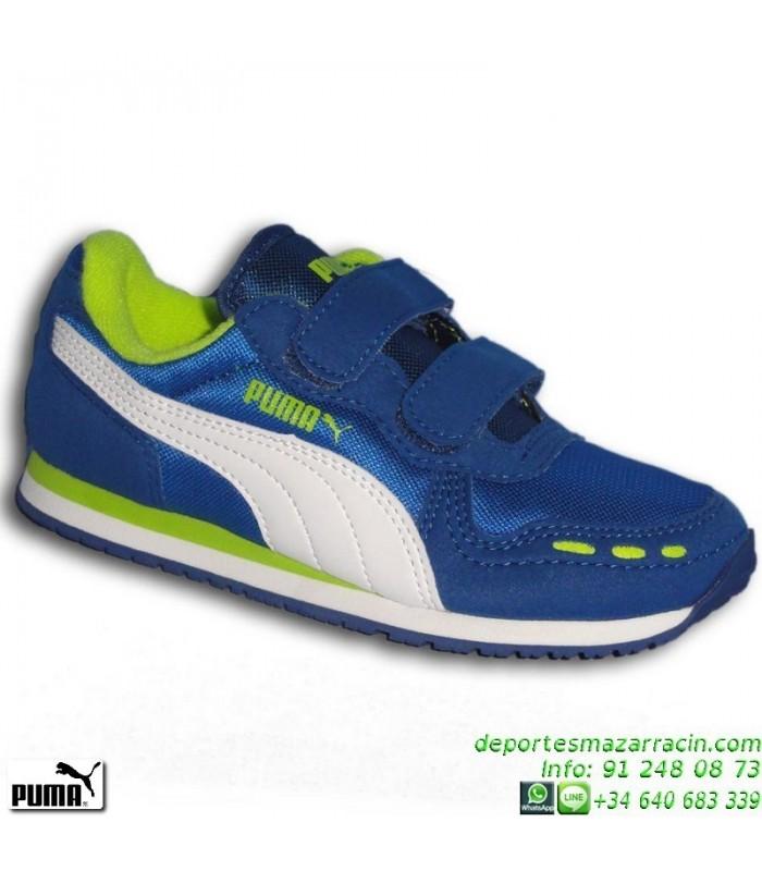 60ccb1e8a PUMA CABANA RACER MESH Zapatilla Niño VELCRO Azul deportiva junior  356373-17 correr running colegio