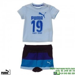 Conjunto Infantil Camiseta Short deportivo Puma Style Minicats 836778-19 Azul celeste