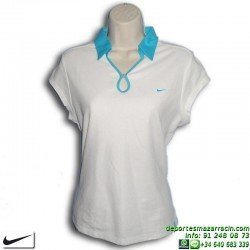 Polo Mujer NIKE Tenis Blanco-Celeste 213254-101 manga corta
