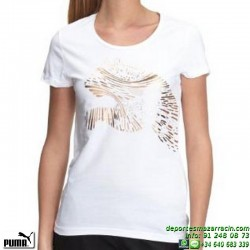 Camiseta Mujer PUMA FOLL CAT TEE Blanca 815473-01 algodon manga corta