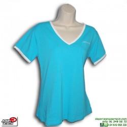 Camiseta Señora John Smith VALLE Azul Turquesa manga corta algodon