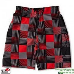 Bañador Bermuda John Smith MATAS Negro-Rojo niño junior piscina playa