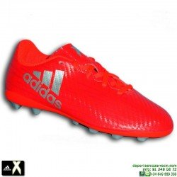 ADIDAS X 16.4 NIÑO Rojo Bota Futbol Tacos FxG S75701 Gareth Bale Luis Suarez