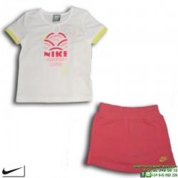 Conjunto Nike Niña Camiseta + Falda 273419-100 Blanco-Rosa