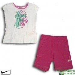 Conjunto Nike Niña Camiseta + Short 218950-100 Blanco-Fucsia
