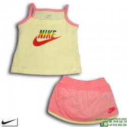 Conjunto Nike Baby Niña Camiseta + Falda 333961-770 Amarillo-Rosa
