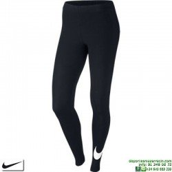 Malla Larga Gimnasio Nike Club Leggings Negro-Blanco 669644-011 mujer