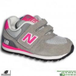 Zapatilla NEW BALANCE 574 Infantil Velcro Gris-Rosa KV574CDI
