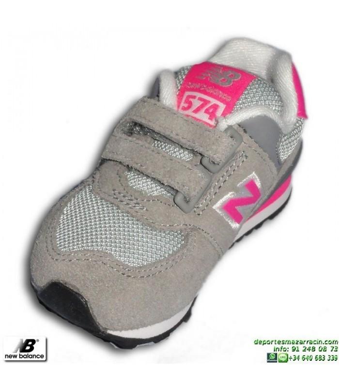 new balance 574 gris rosa velcro