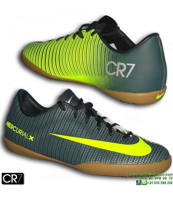 4aa8f61b0093e Nike MERCURIAL VAPOR CR7 Niño zapatilla Futbol Sala Cristiano Ronaldo Gris  Verdoso 852488-376