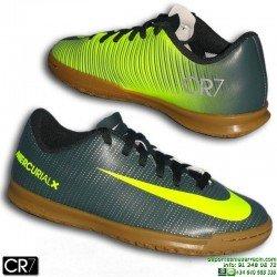 Nike MERCURIAL CR7 Niño Zapatilla Futbol Sala Cristiano Ronaldo VORTEX 3 Gris Verdoso 852495-376