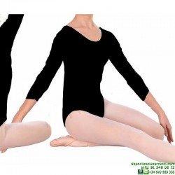 Maillot Manga Francesa Niña Negro Ballet Gimnasia Ritmica Danza Sevillanas happy dance 1005 Poliamida Espuma