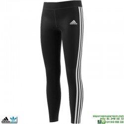 Malla Chica Adidas YG GU 3S TIGHT Negro-Blanco BQ2907 rayas lycra climalite
