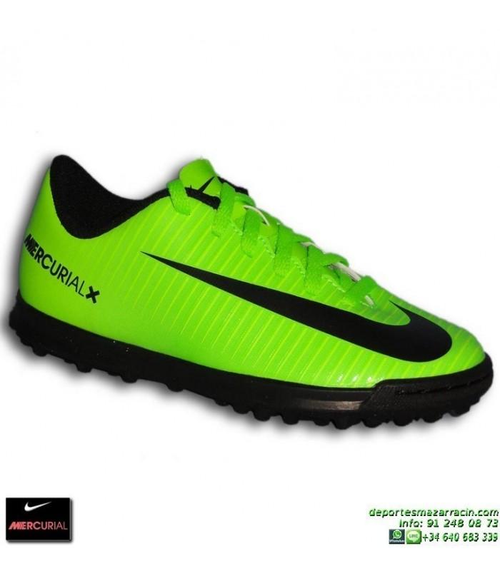 Nike MERCURIAL Niño Zapatilla Cristiano Ronaldo neymar Turf VORTEX 3 verde  831954-303 bota futbol 14615ad19fcb5