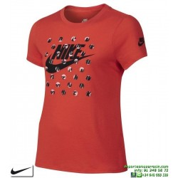 Camiseta Chica NIKE G NSW TEE SS COURT ART Roja 837962-852 algodon