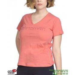 Camiseta Señora JOHN SMITH RUSEL salmon corte ancho manga corta algodon Transpirable