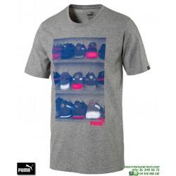 Camiseta Puma SNEAKER PHOTO TEE Gris Hombre 590935-03 Algodón