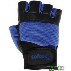 Guante Gimnasio Sin Dedos Softee MX3 Azul
