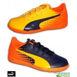 PUMA EVOSPEED 17.5 NIÑO Naranja-Marino Zapatilla Futbol Multitaco