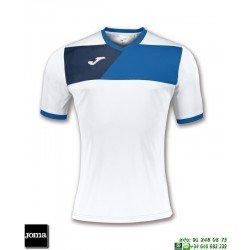JOMA Camiseta CREW II Futbol BLANCO - AZUL ROYAL 100611.207 equipacion