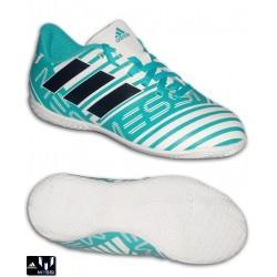 Adidas NEMEZIZ MESSI 17.4 Niños Blanco-Turquesa Zapatilla Futbol Sala S77208
