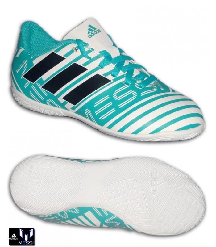 6bbd878c1139d Adidas NEMEZIZ MESSI 17.4 Niños Blanco-Turquesa Zapatilla Futbol Sala S77208