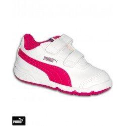 Zapatilla Deporte Niñas PUMA STEPFLEEX 2 SL V PS Velcro Blanco-Rosa 190114-04
