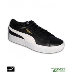 Sneakers Mujer PUMA VIKKY PLATFORM Leather Negro-Blanco
