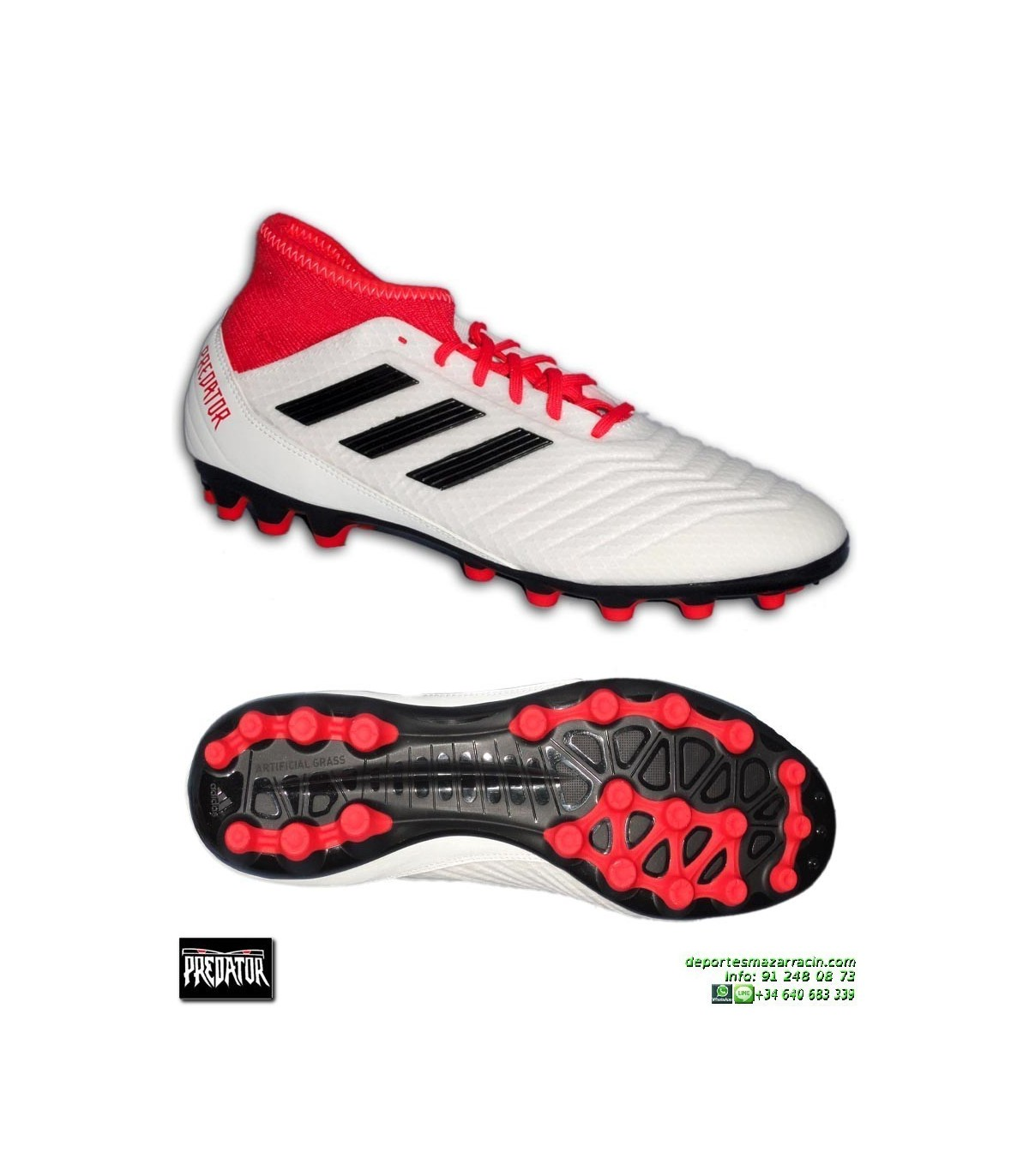 95944e6ad56 Adidas PREDATOR 18.3 AG Calcetin Blanco Bota Futbol Hierba Artificial  CP9307 · Adidas PREDATOR 18.3 AG ...