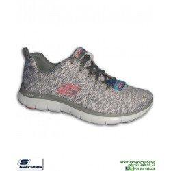 Deportiva Mujer Skechers Flex Appeal 2.0 Reflection Gris 12908/BKMT