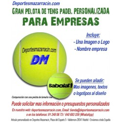 Pelota de Tenis Padel Gigante PERSONALIZADA Para Empresas Logotipo imagen Nombre